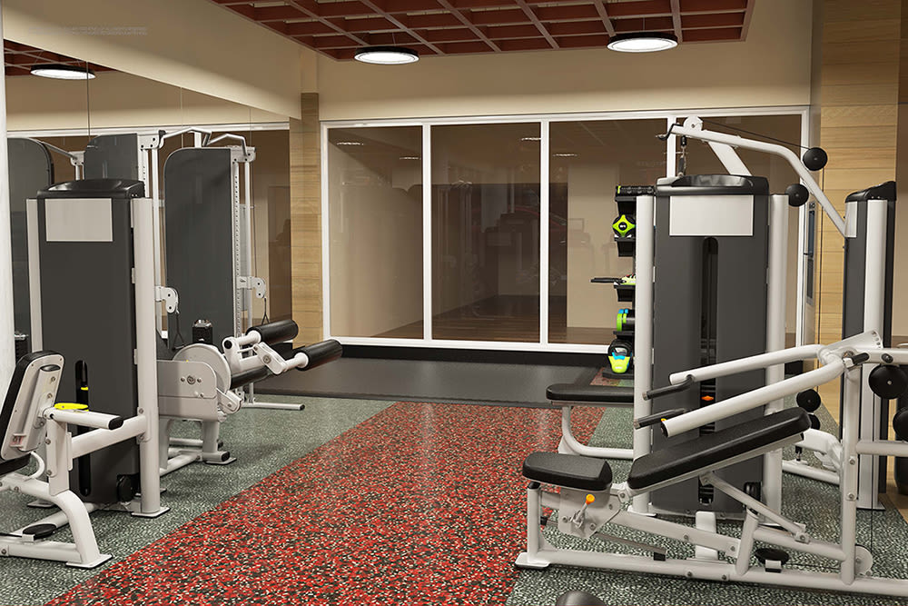 Beautiful fitness center at City Centre Ithaca in Ithaca, New York