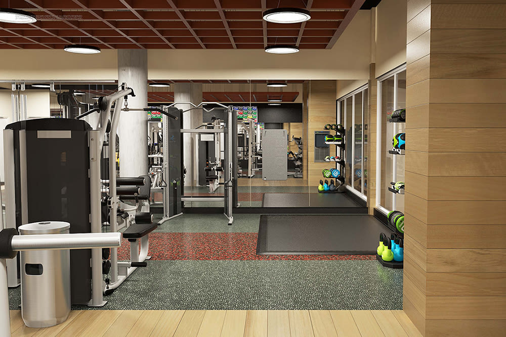 Luxury fitness center at City Centre Ithaca in Ithaca, New York