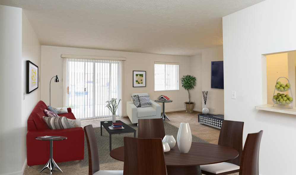 Living and dining room view at CenterPointe Apartments and Townhomes home in Canandaigua, New York