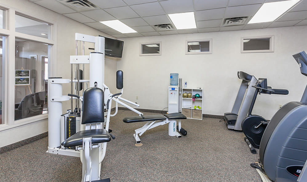 Fitness center at CenterPointe Apartments and Townhomes in Canandaigua, New York