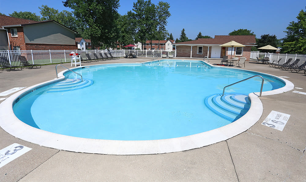 Sparkling swimming pool at Highview Manor Apartments in Fairport, New York