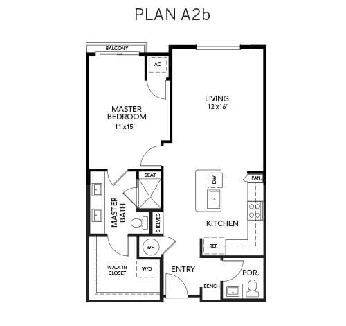 1 bedroom A2b floor plan at Avenida Naperville senior living apartments in Naperville, Illinois