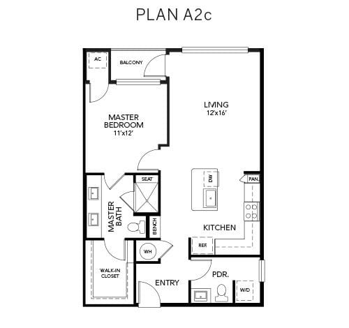 1 bedroom A2c floor plan at Avenida Naperville senior living apartments in Naperville, Illinois