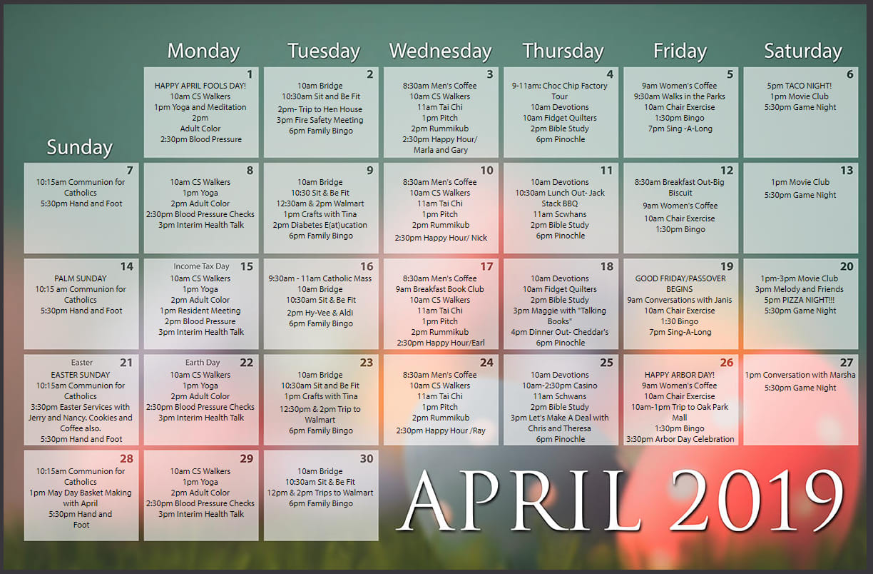 Calendar Of Events At The Gardens At Creekside