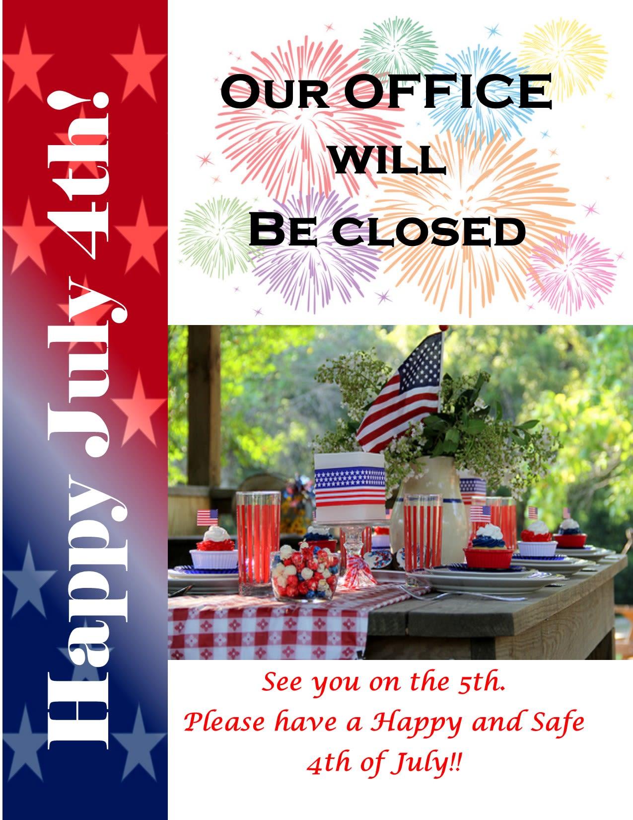 4th of July Closing