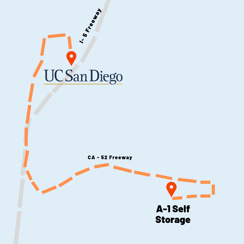 Map of how to get to UCSD from A-1 Self Storage in San Diego, California