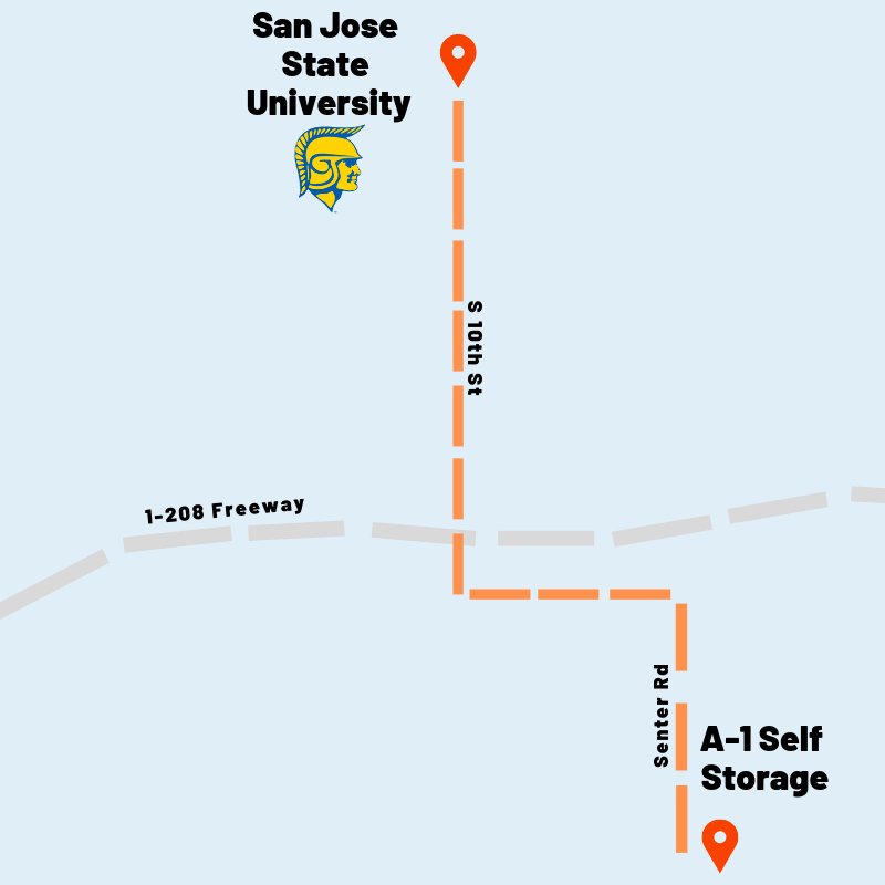 Map of how to get to San Jose State U from A-1 Self Storage in San Jose, California