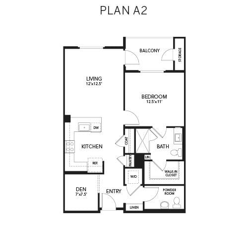 1 bedroom & 2 bathroom A2: 890 sq. ft. floor plan at Avenida Palm Desert senior living apartments in Palm Desert, California