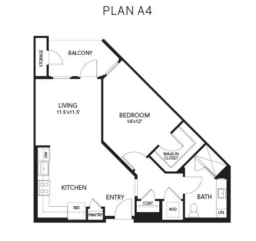 1 bedroom & 1 bathroom A4: 809 sq. ft. floor plan at Avenida Palm Desert senior living apartments in Palm Desert, California