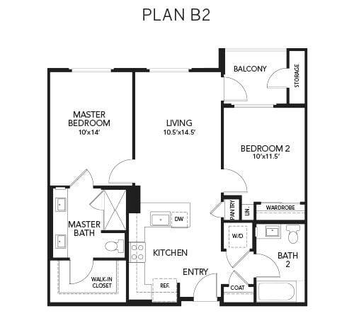 2 bedroom & 2 bathroom B2: 962 sq. ft. floor plan at Avenida Palm Desert senior living apartments in Palm Desert, California