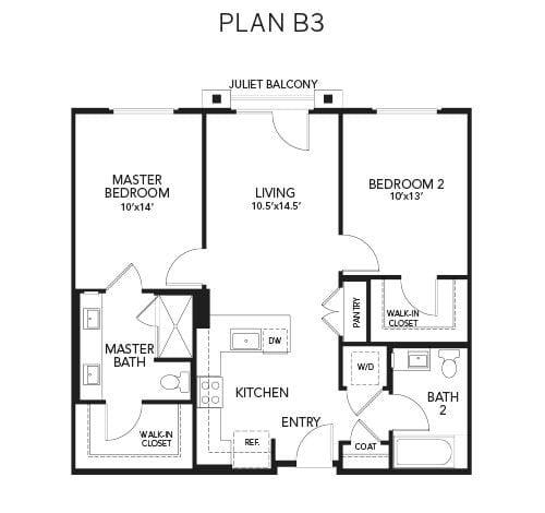 2 bedroom & 2 bathroom B3: 934 sq. ft. floor plan at Avenida Palm Desert senior living apartments in Palm Desert, California