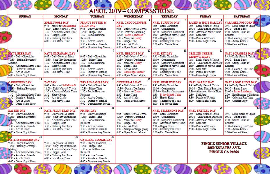 Calendar for activities and events at Pinole Senior Village in Pinole, California