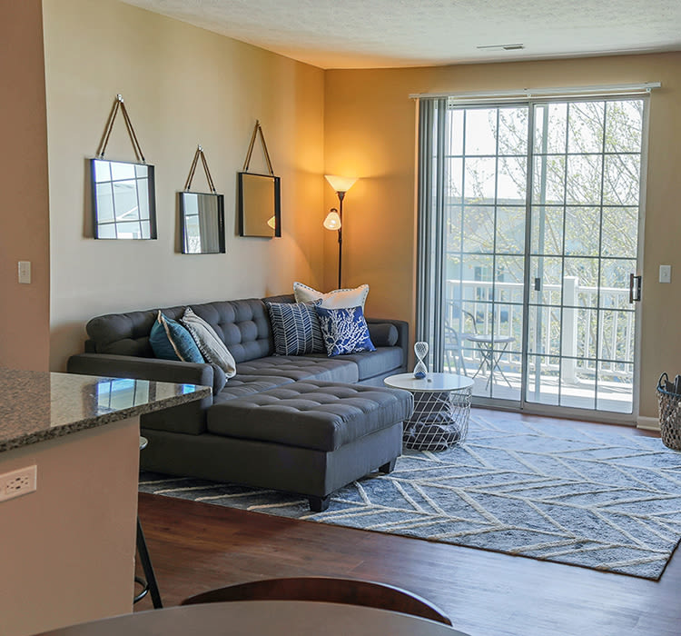 Cozy living room at The Preserve at Beckett Ridge, in West Chester, OH