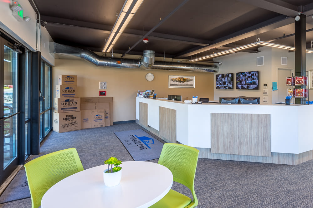 Office area at the self storage facility in Renton