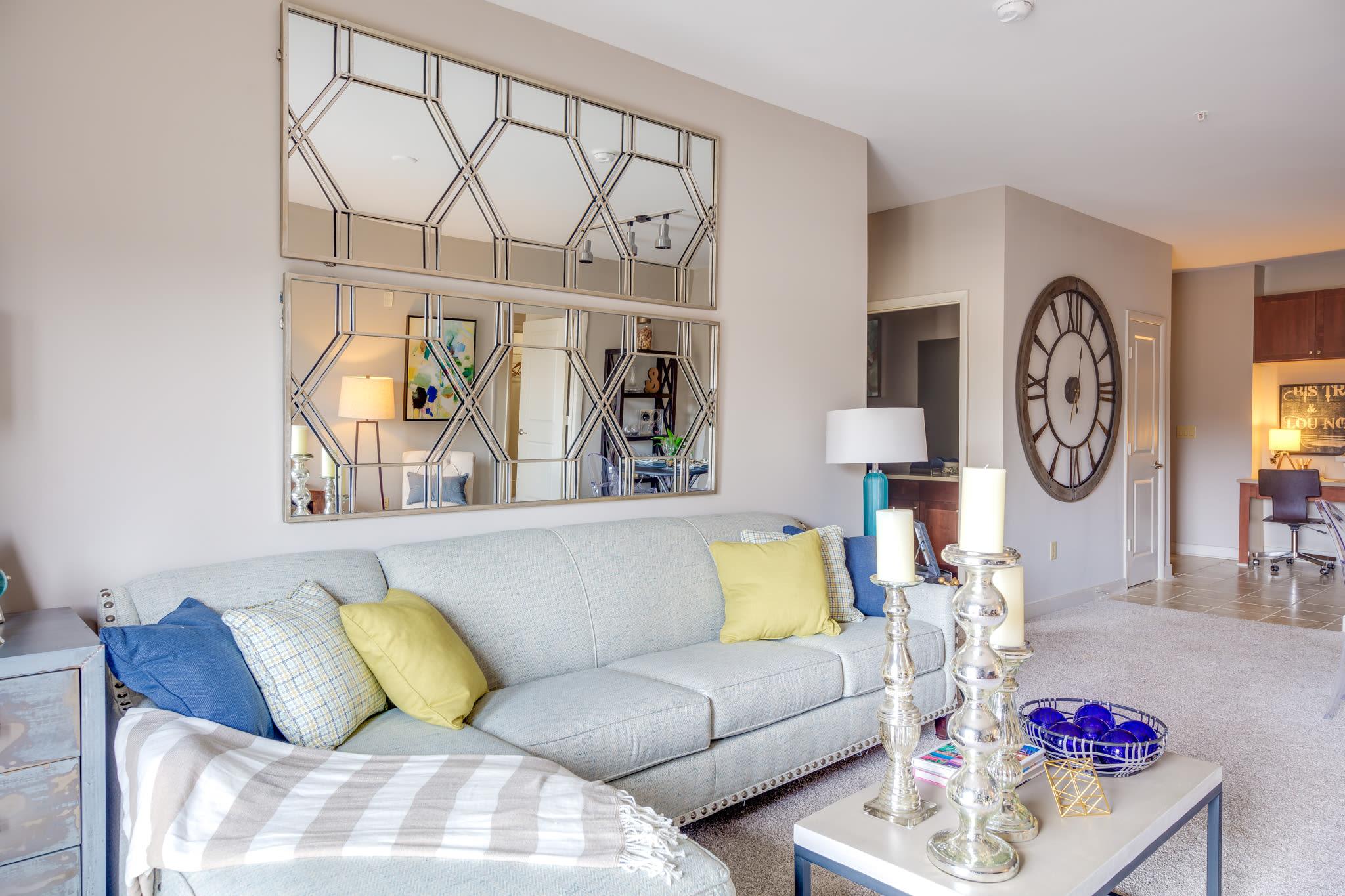 Model living room at McBee Station in Greenville, South Carolina