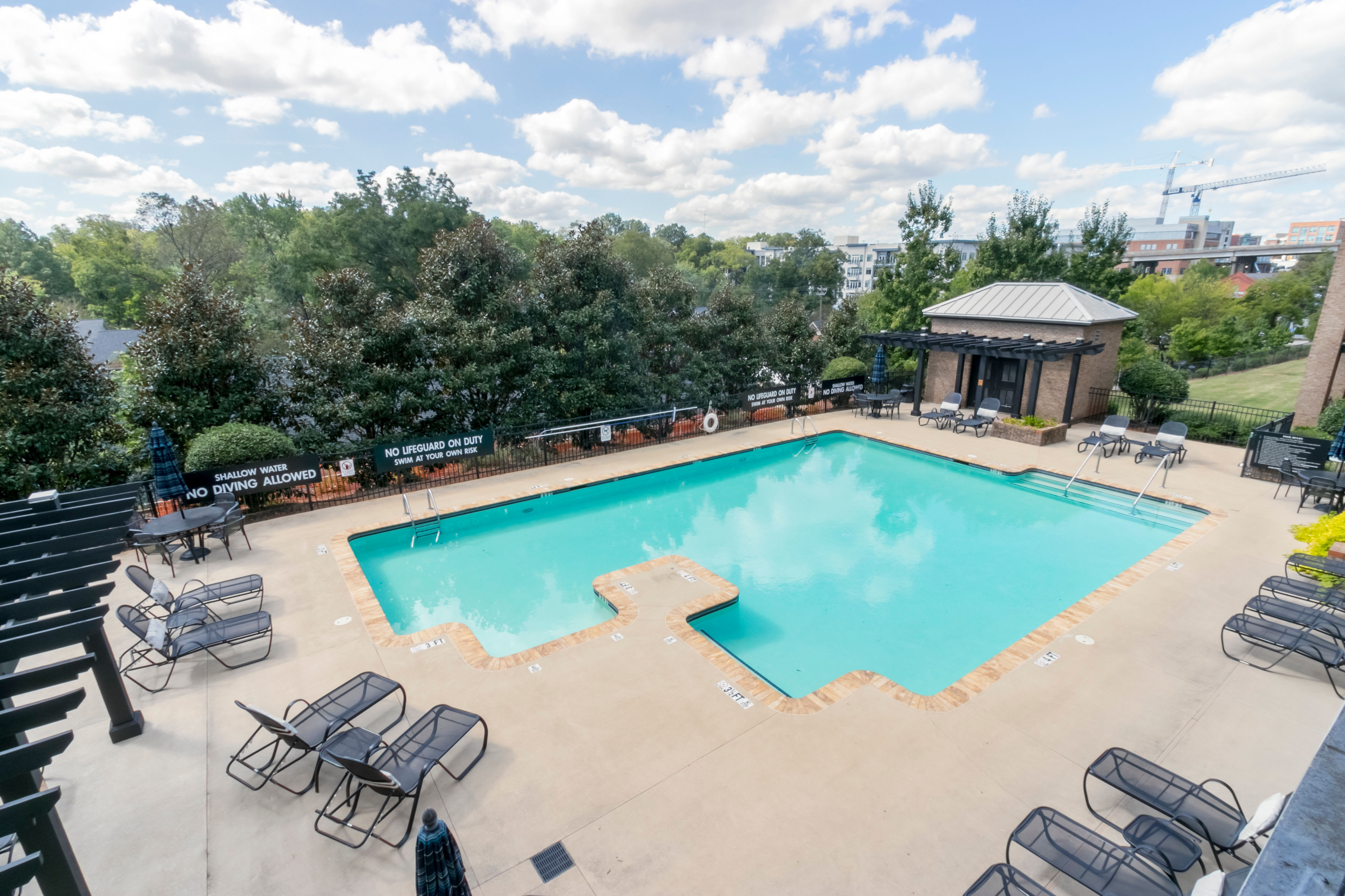 Sparkling pool at McBee Station in Greenville, South Carolina