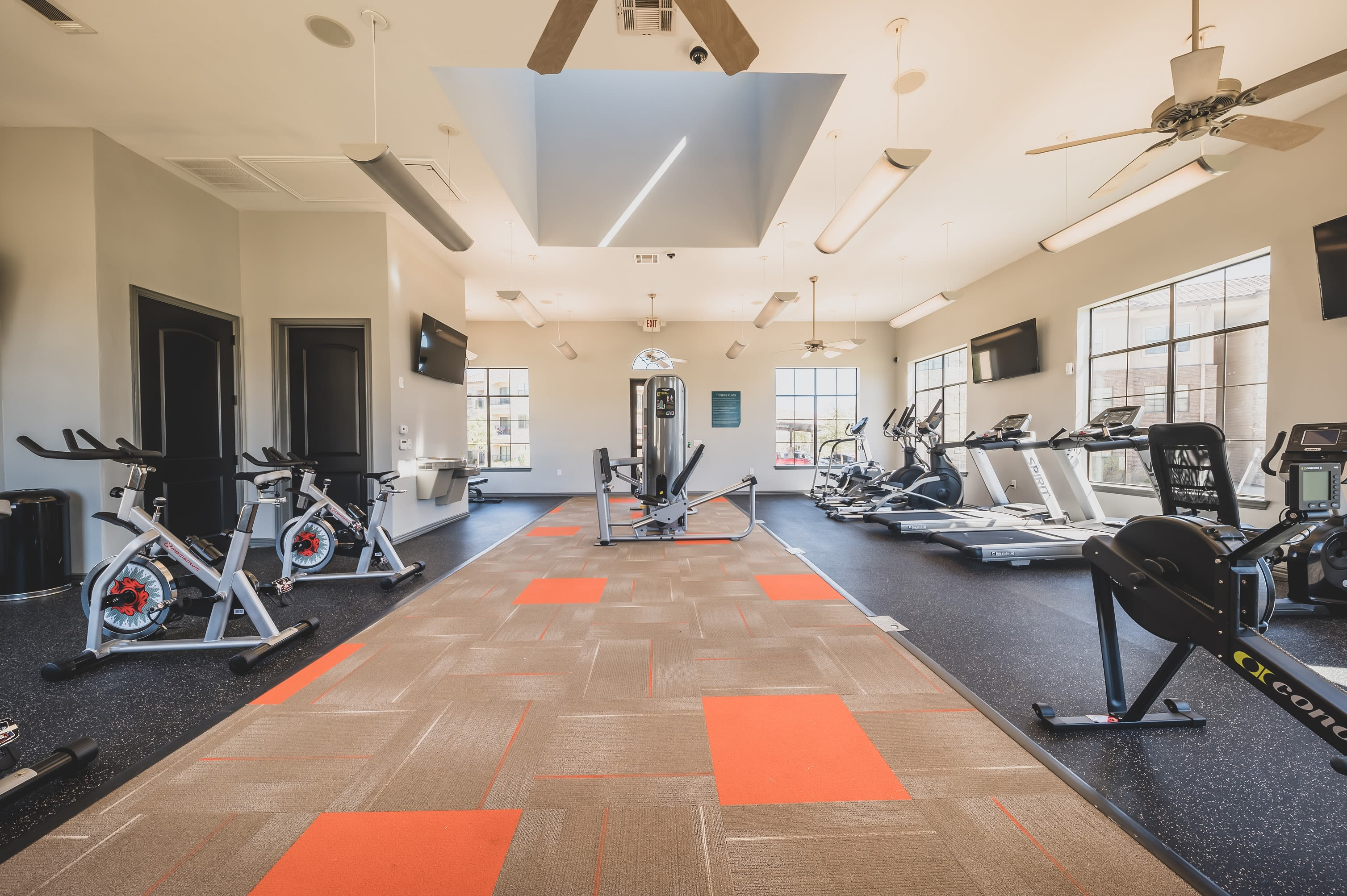 Large fitness center at Evolv in Mansfield, Texas