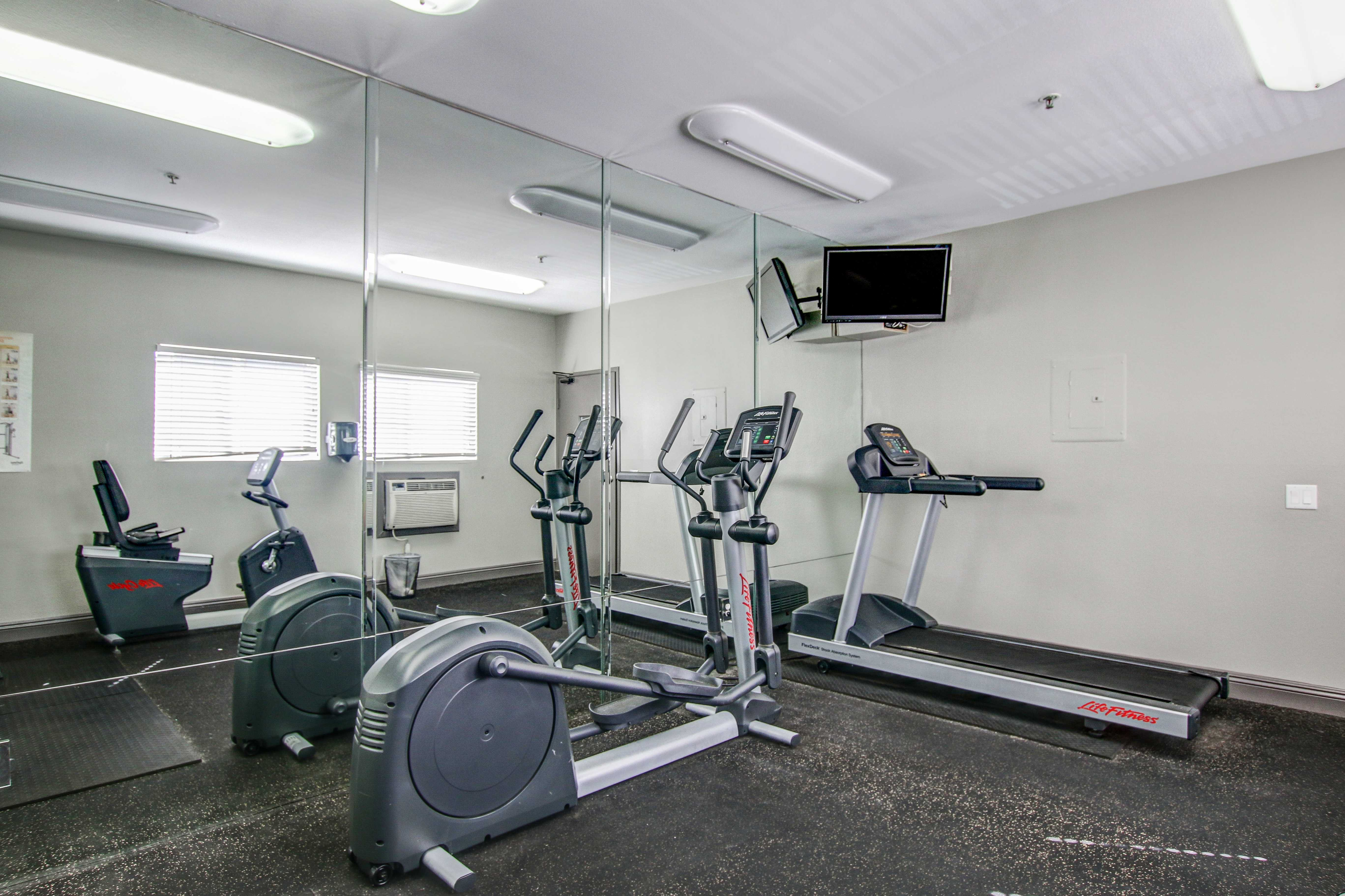 Fitness center at apartments in San Diego, California