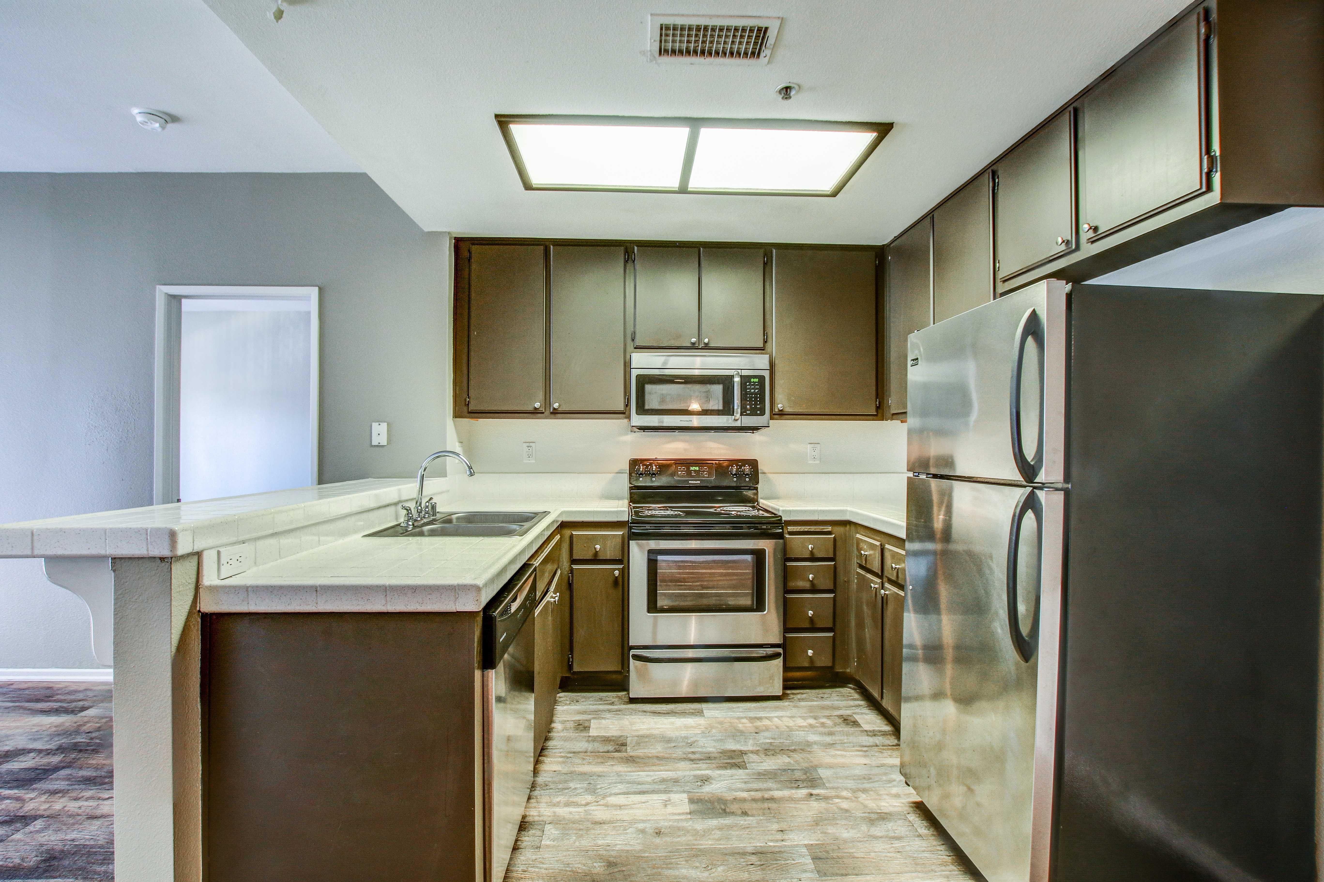 Modern kitchen at apartments in San Diego, California