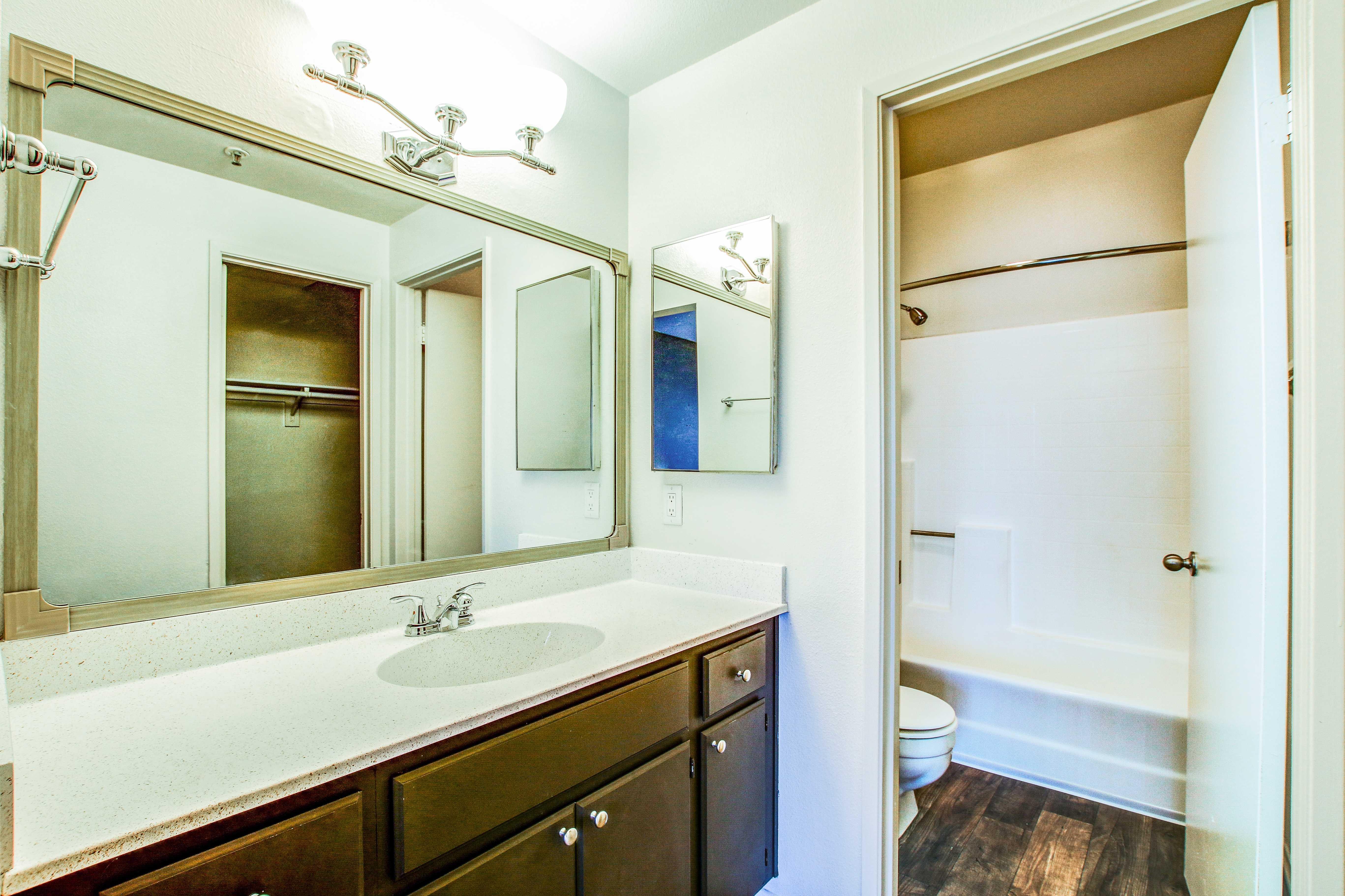 Clean bathroom at apartments in San Diego, California