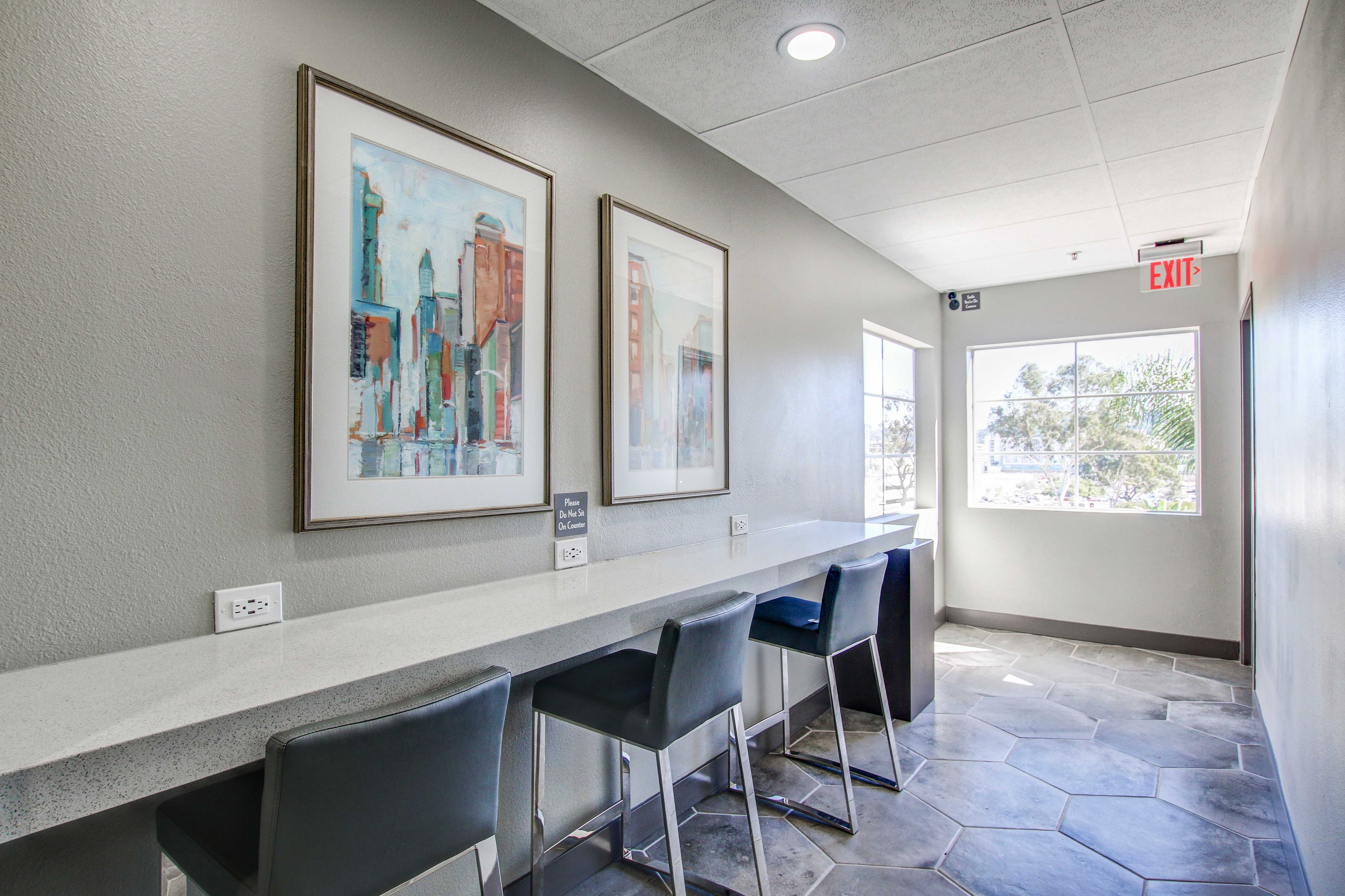 Bar style sitting area at apartments in San Diego, California