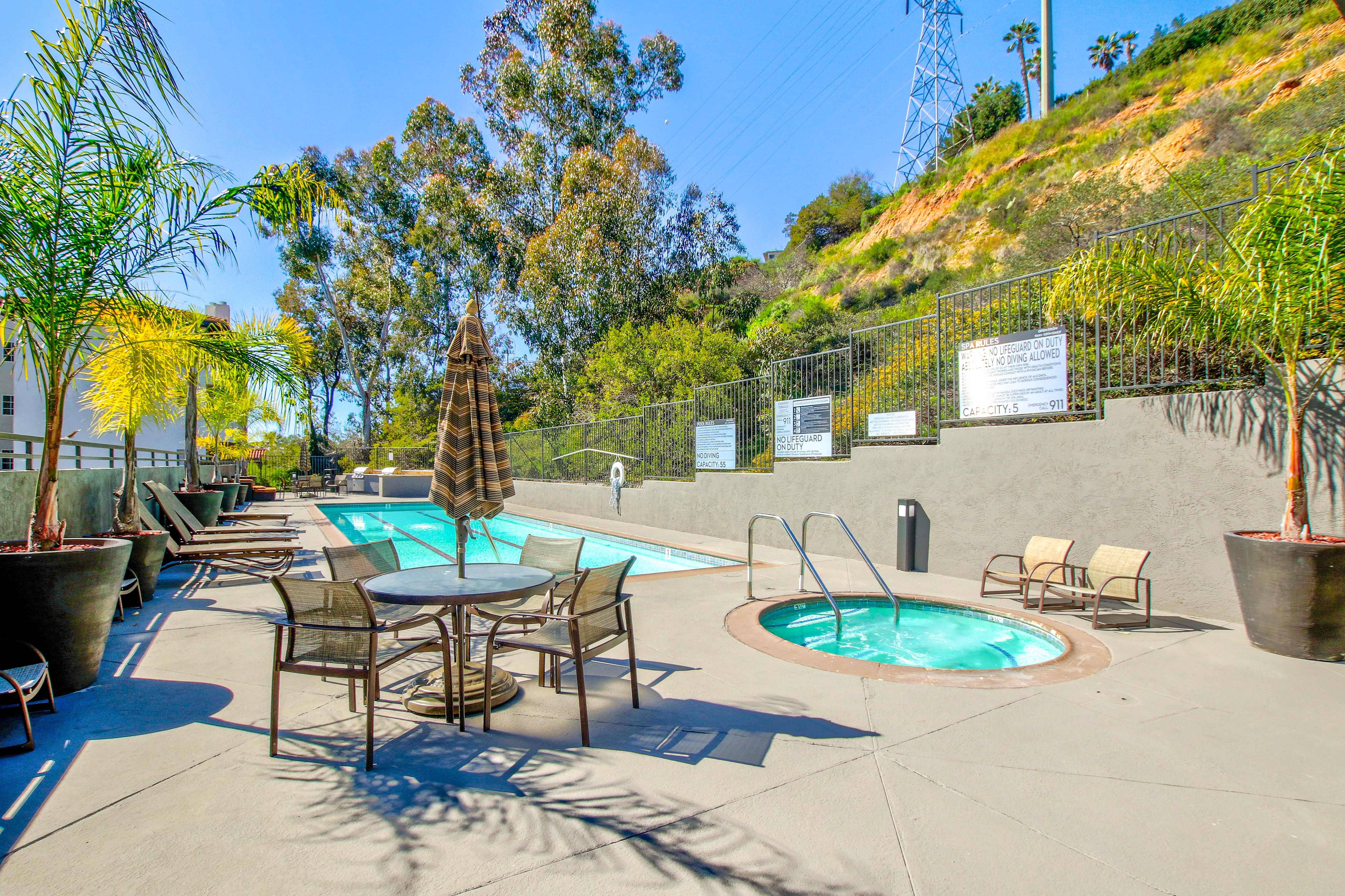 Outdoor pool and hot tub at apartments in San Diego, California
