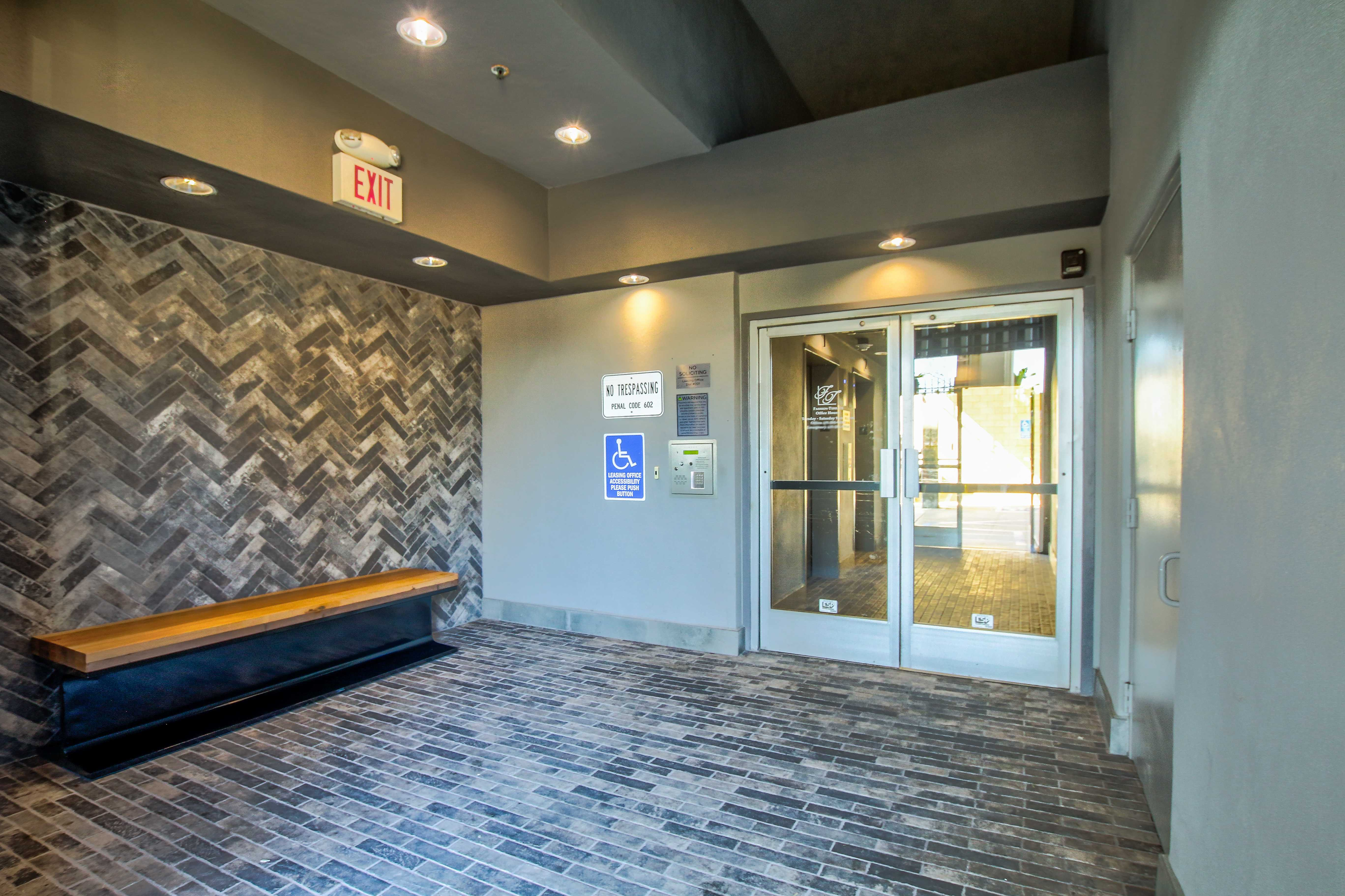 Entryway to clubhouse in San Diego, California