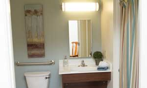 An apartment bathroom at Heritage Green Assisted Living in Mechanicsville, Virginia