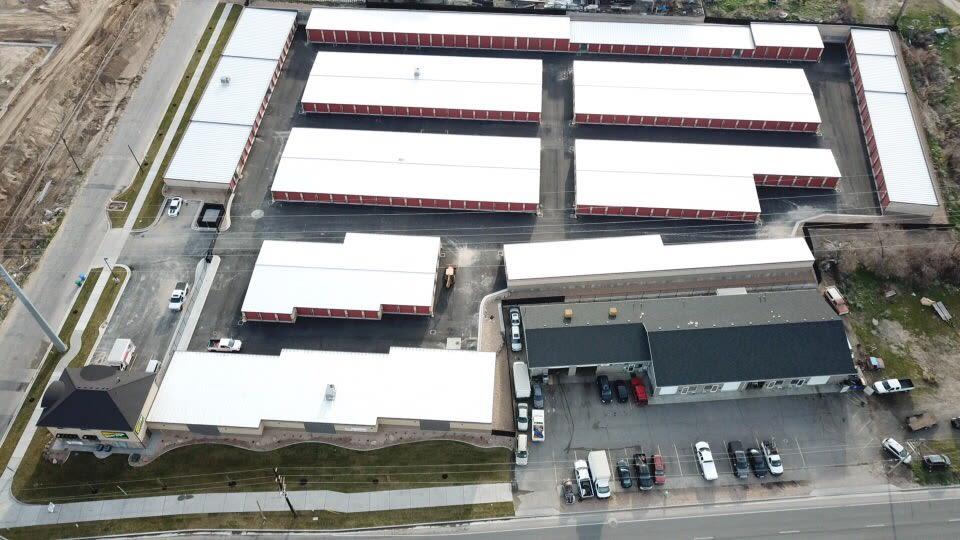 Sky shot of storage units at Towne Storage in Orem, Utah