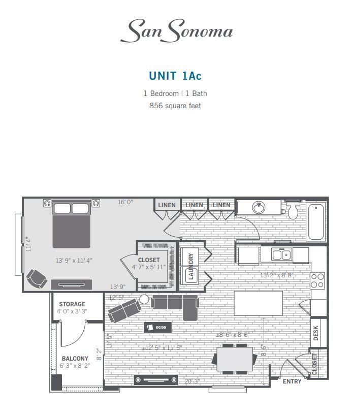 1AC 2D floor plan image