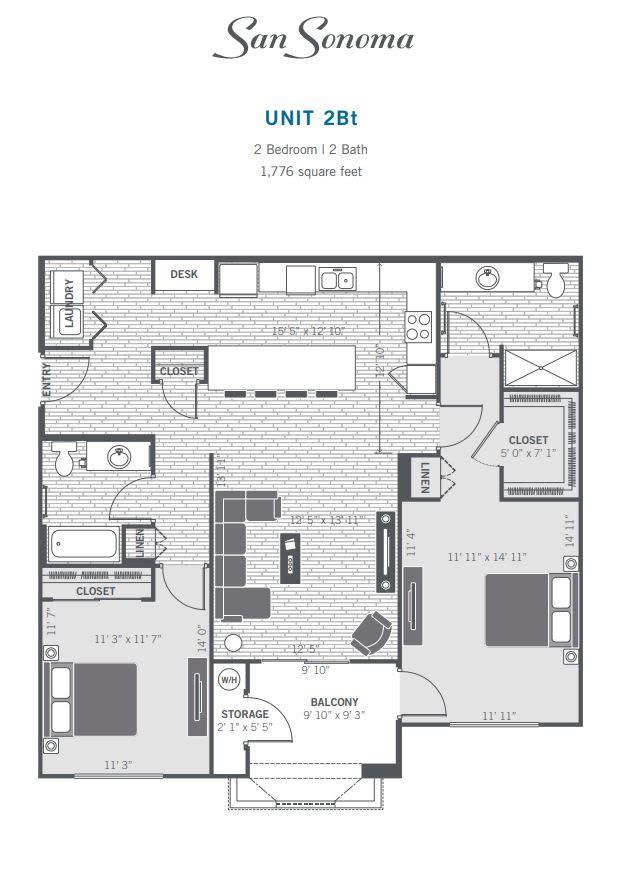 2Bt 2D floor plan