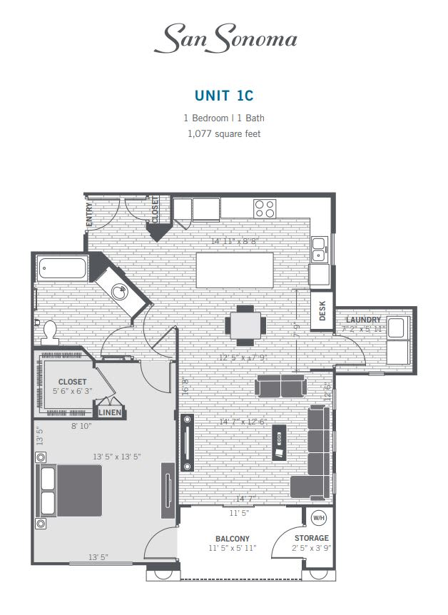 1C 2D floor plan