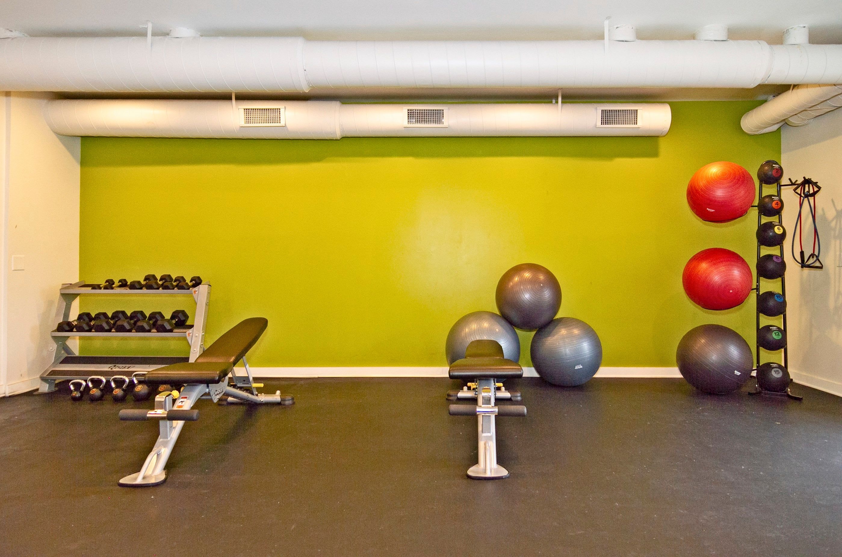 Exercise balls and weights in the fitness center at Lyric on Bell in Antioch, Tennessee
