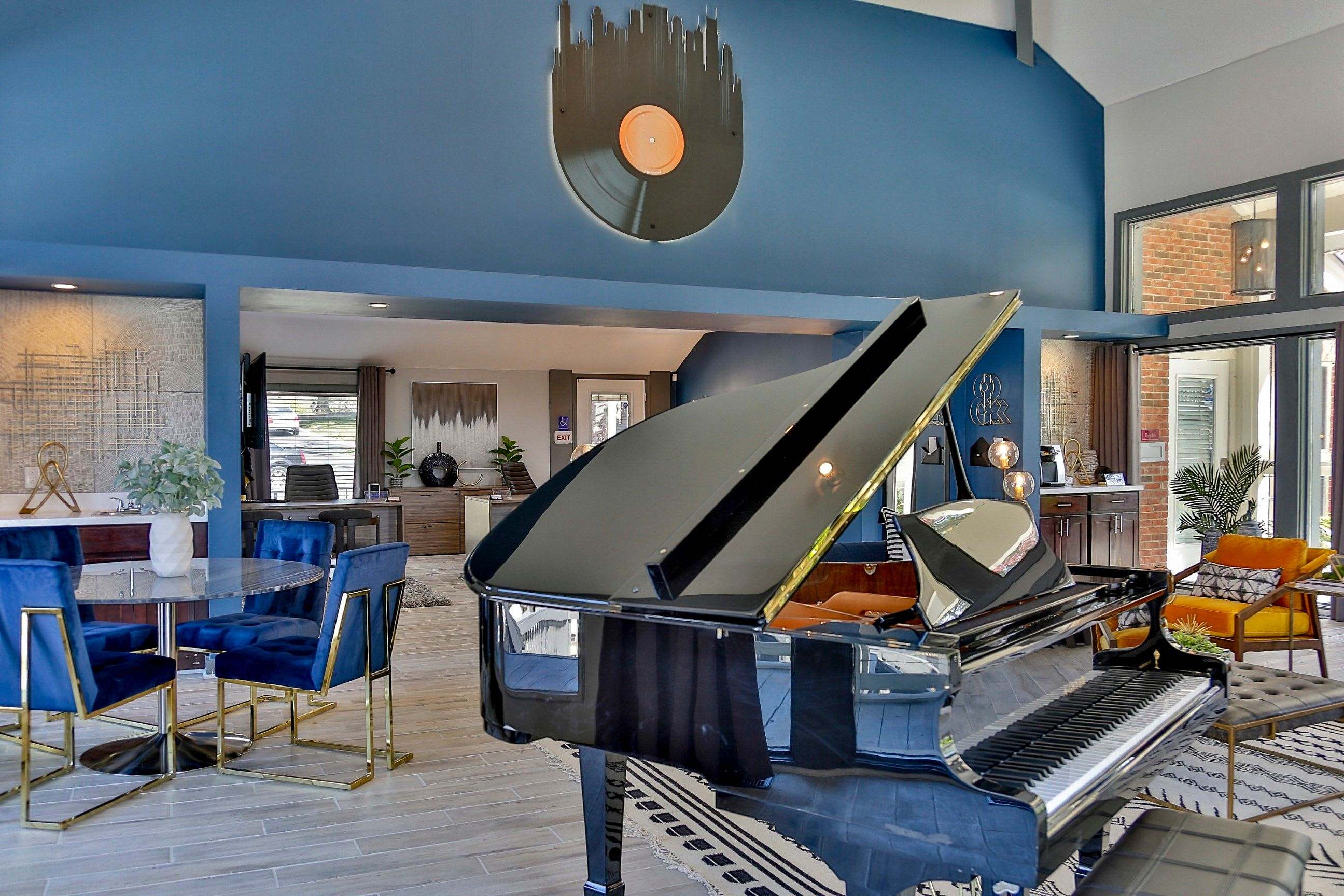 Grand piano in clubhouse at Lyric on Bell in Antioch, Tennessee