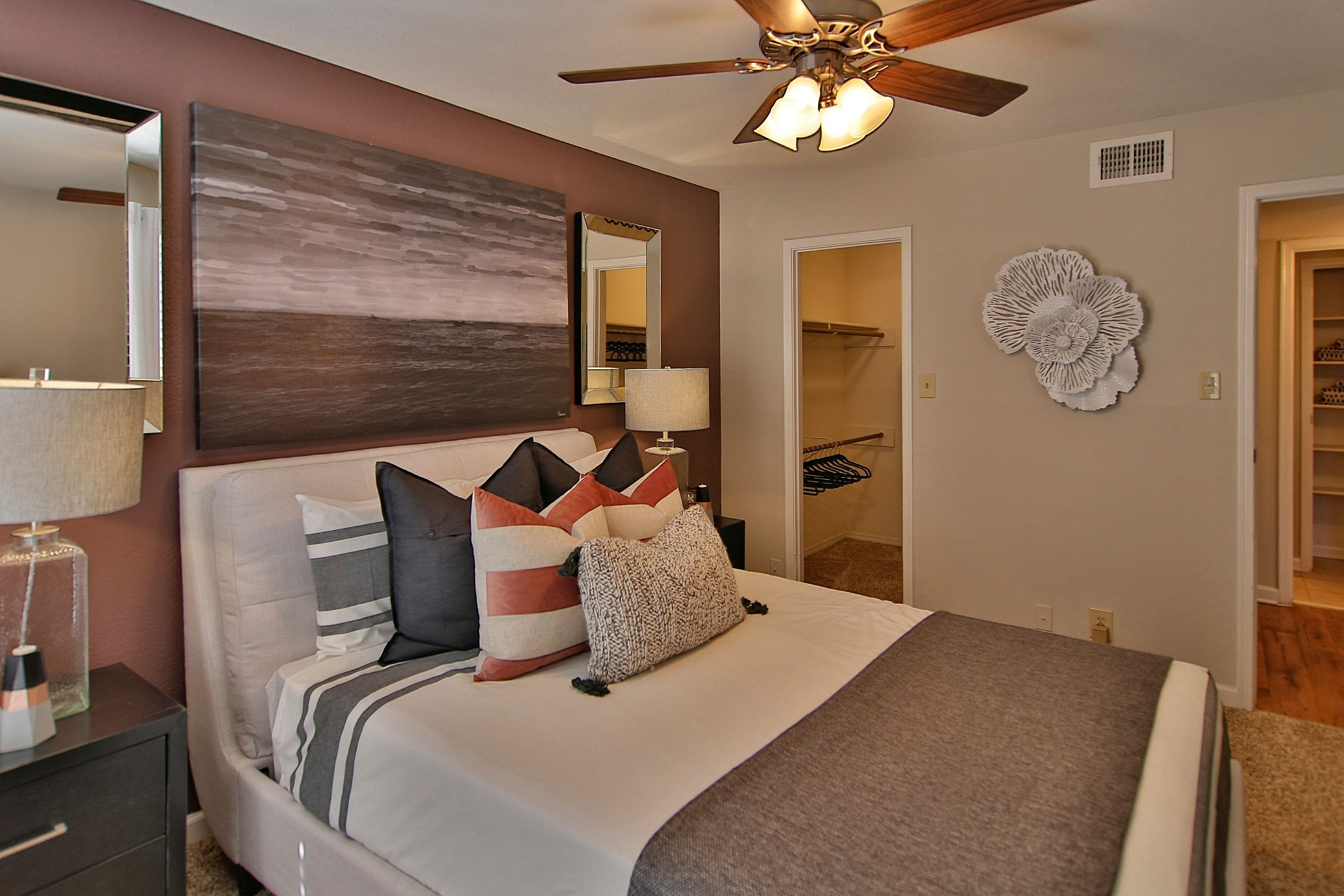 Well decorated guest bedroom in model home at Allegro on Bell in Antioch, Tennessee