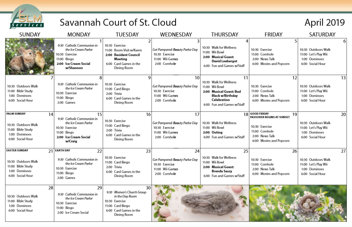 View our monthly calendar of events at Savannah Court of St. Cloud
