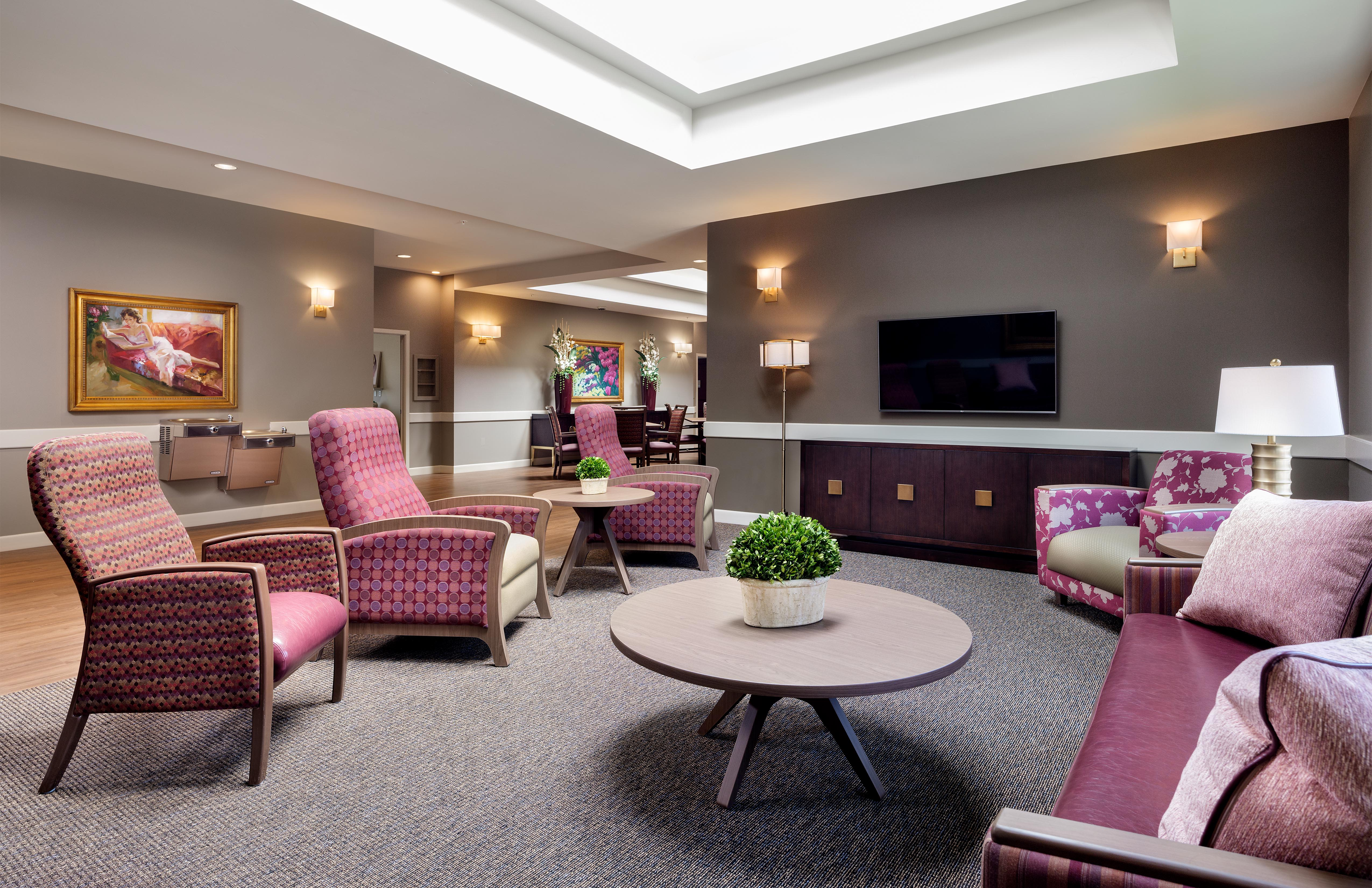 Lounge seating at Avenir Memory Care Westside in Los Angeles, California