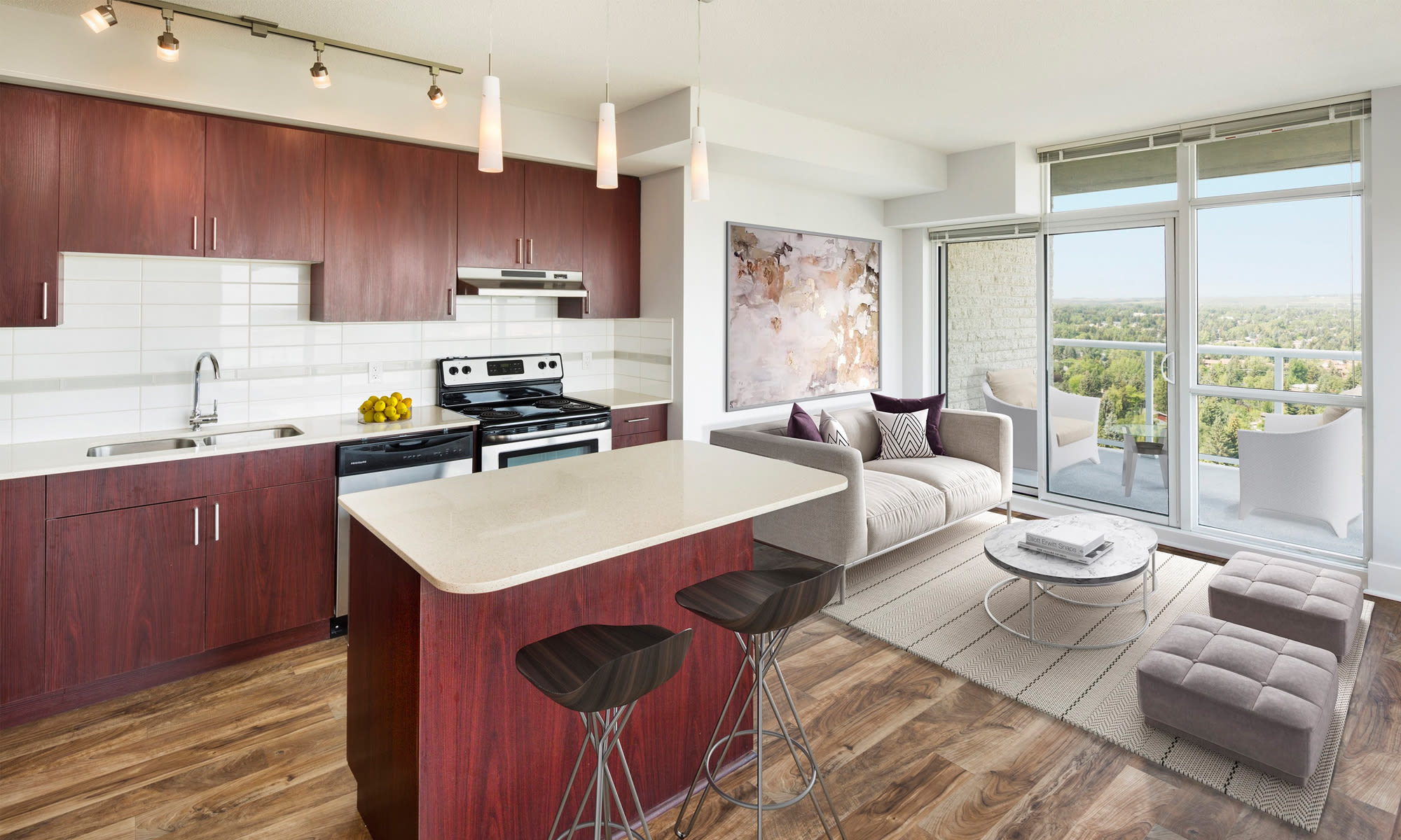 Kitchen & Living Room at Elata