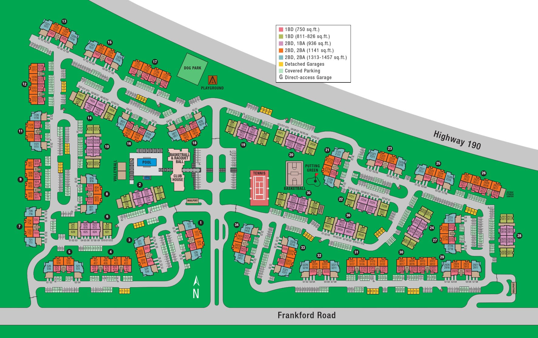 Site map of Estates on Frankford in Dallas, TX