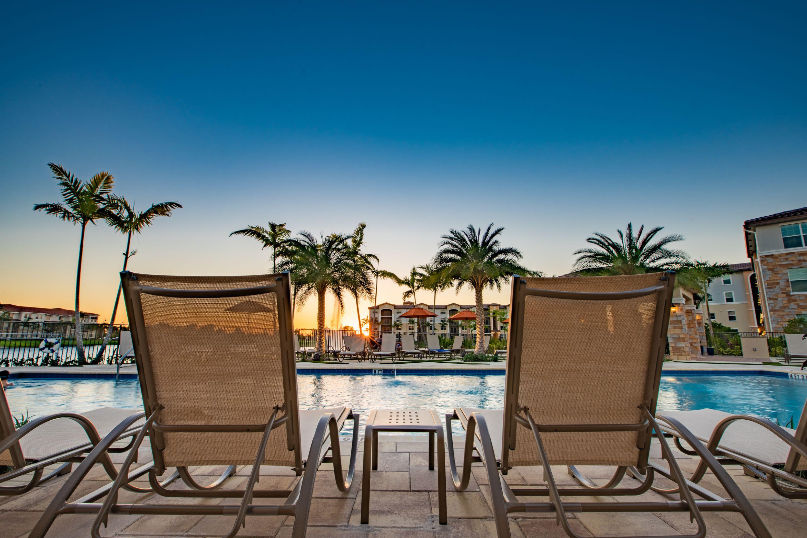 Beautiful Pool Area at Luma Miramar Apartments in Miramar, Florida
