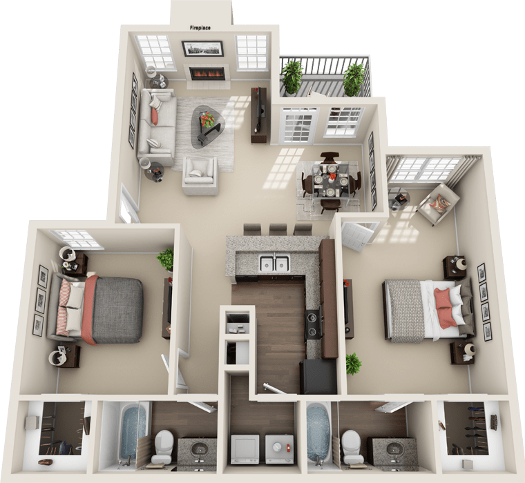 2 Bedroom Floor Plan - Florence A Layout