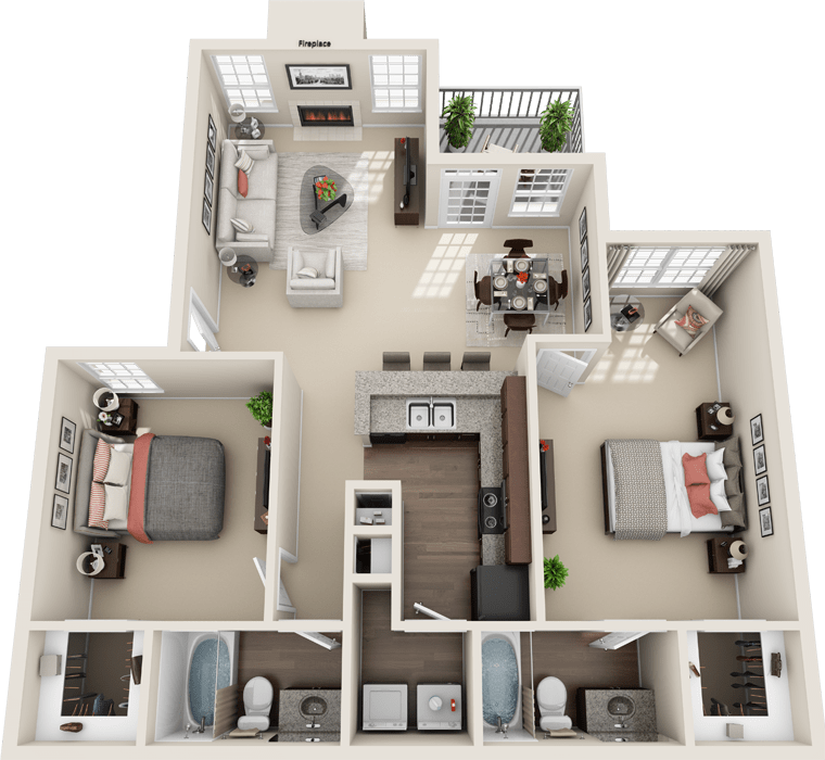 2 Bedroom Floor Plan - Florence B Layout