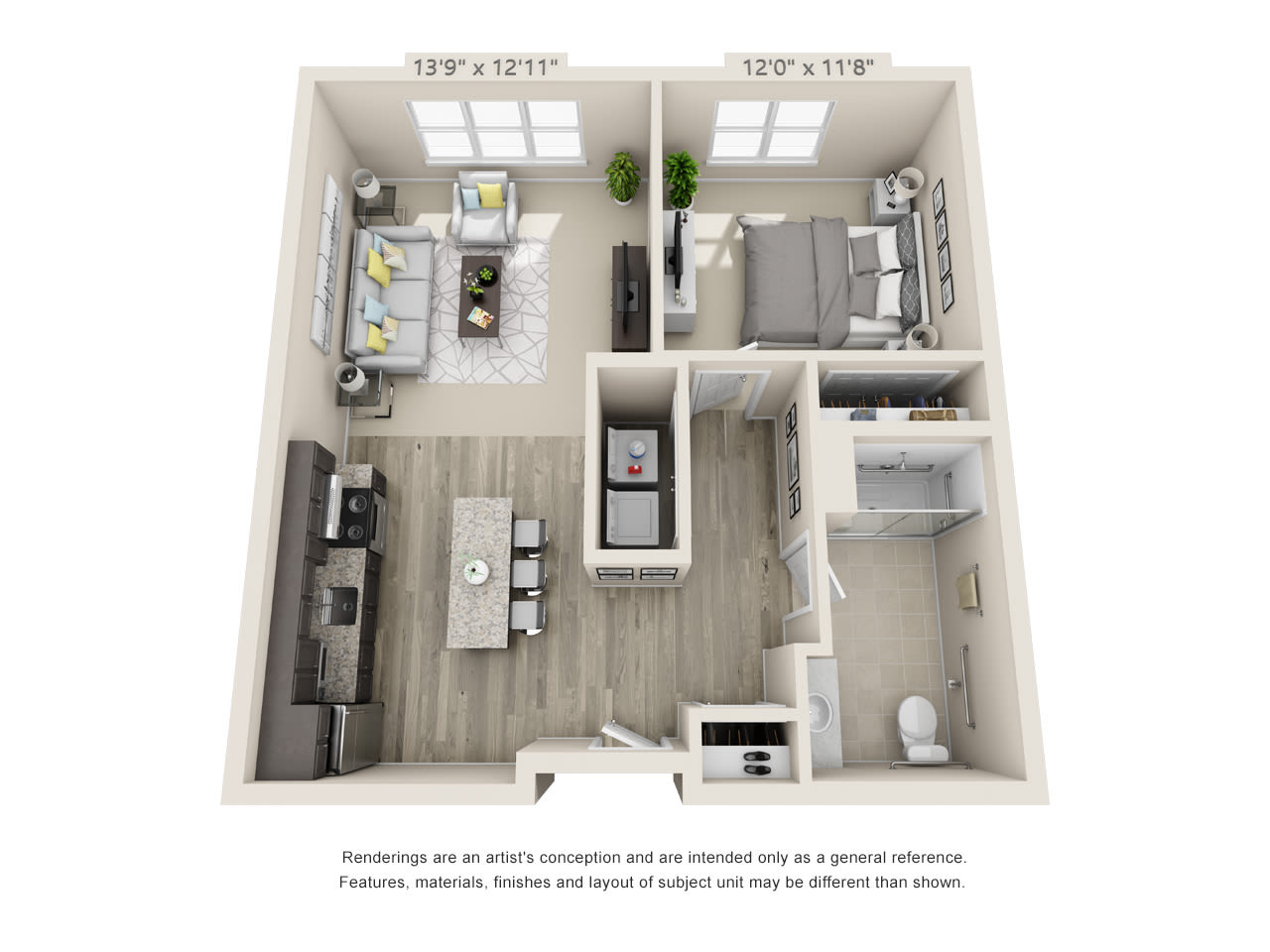 One bedroom accessible floor plan at Talamore Senior Living in St. Cloud, Minnesota