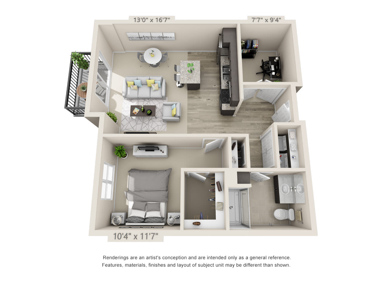 One bedroom floor plan with a den at Talamore Senior Living in St. Cloud, Minnesota