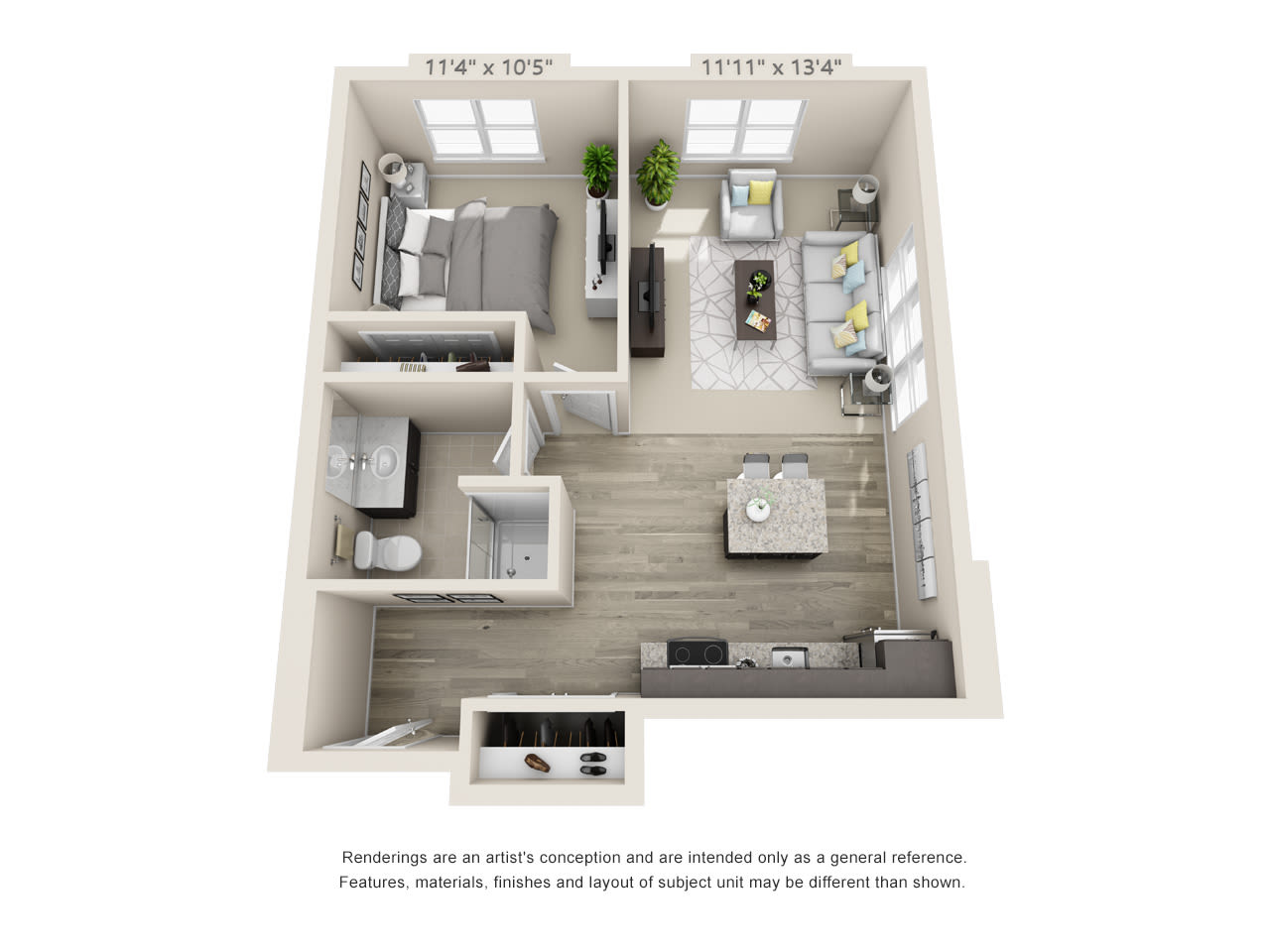 Assisted living one bedroom floor plan at Talamore Senior Living in St. Cloud, Minnesota