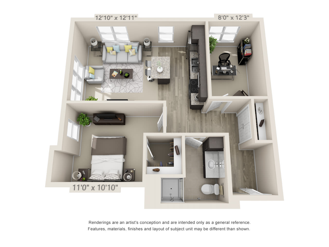 Assisted living one bedroom floor plan with a den at Talamore Senior Living in St. Cloud, Minnesota