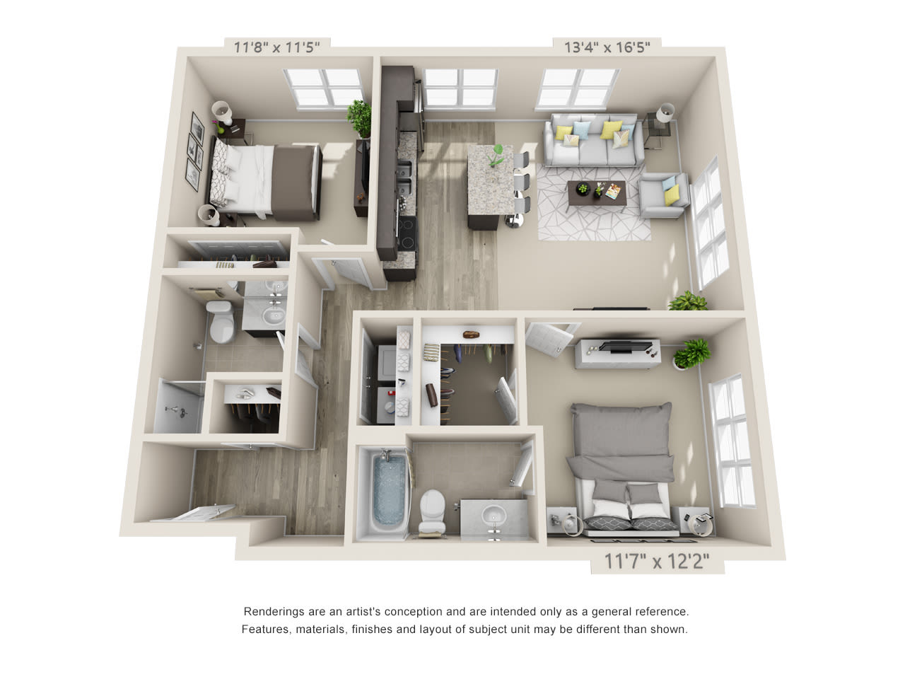Two bedroom floor plan at Talamore Senior Living in St. Cloud, Minnesota