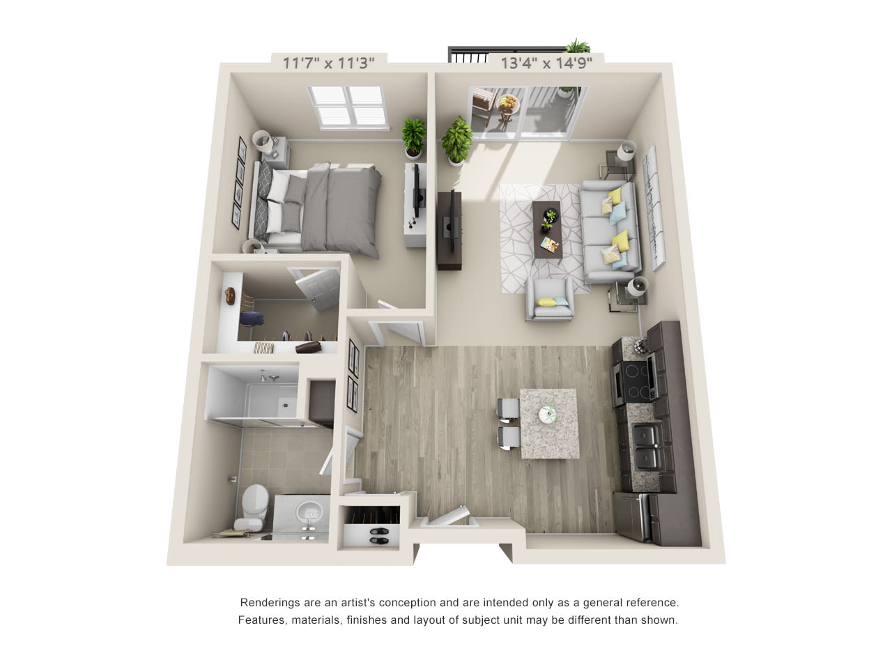 One bedroom floor plan at Talamore Senior Living in St. Cloud, Minnesota