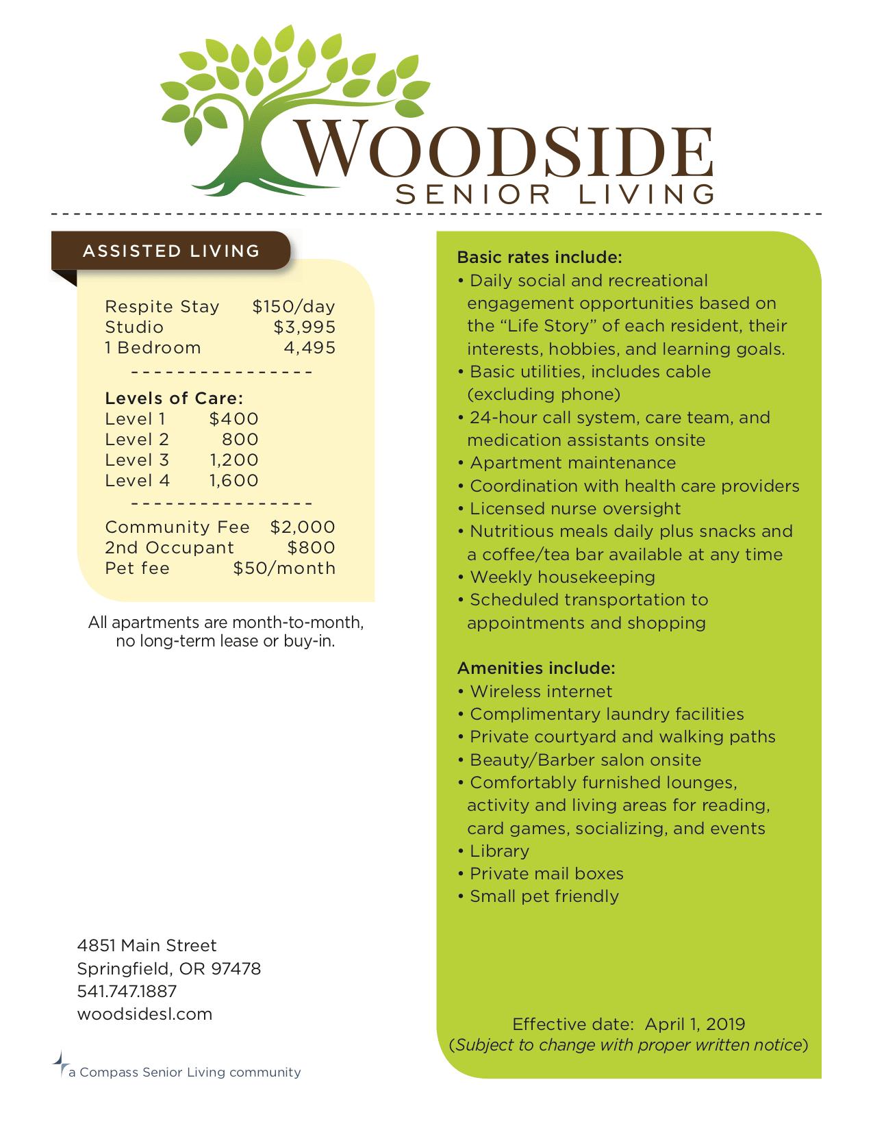 Rates   Woodside Senior Living