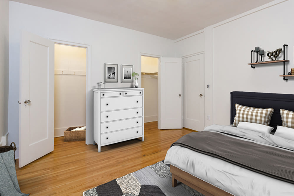 Spacious bedroom at Westminster and Amherst Apartments